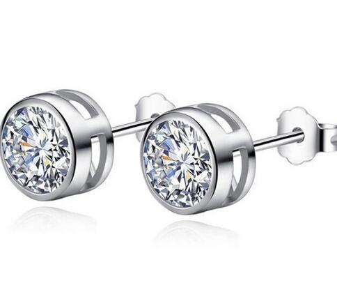 Crystals From Swarovski Zirconia Round Purple Earrings Stud Rhinestone Bijoux For Women Fashion Jewelry Brincos 2018