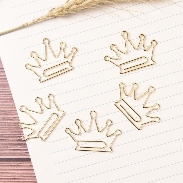 5pcs/lot Crown Pattern Metal Paper Clip Paper Clip Kawaii Golden Bookmarks Stationery School Page Marker Supplies