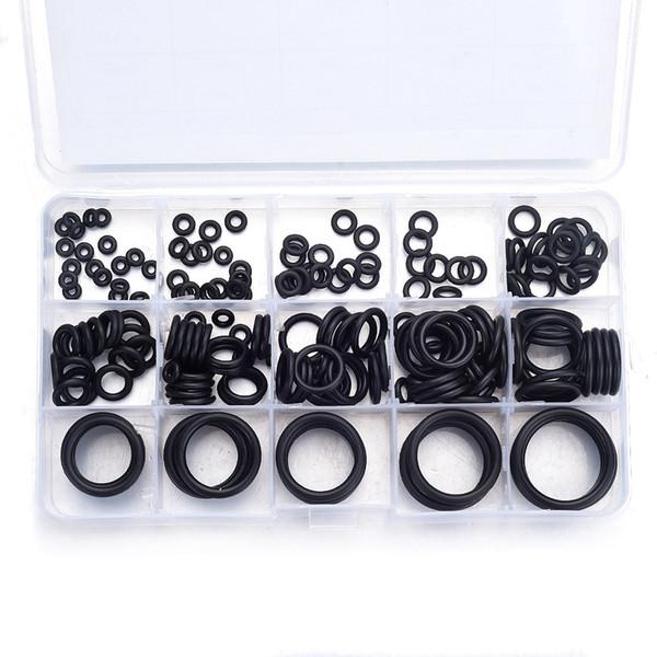 200Pcs 15 Sizes O Ring Rubber O-Ring Washer Seals Watertightness Assortment Kit Mini Round Black ORing Gasket With Plastic Box