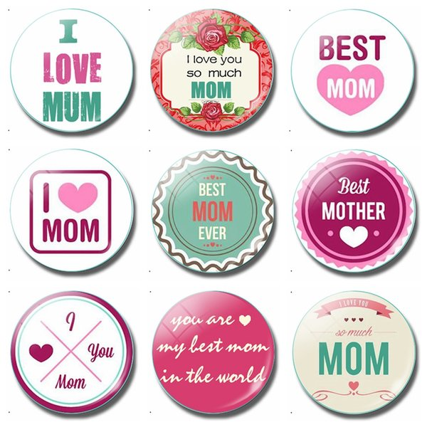 I Love Mom 30 MM Fridge Magnet Best Mom Ever Happy Mother's Day Glass Dome Magnetic Refrigerator Stickers Note Holder Home Decor