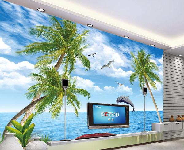 Moderne Tapete Für Wohnzimmer Schöne Dolphin Bay Lovers TV Hintergrund Wand  Symbol Der Liebe 3D Wallpaper