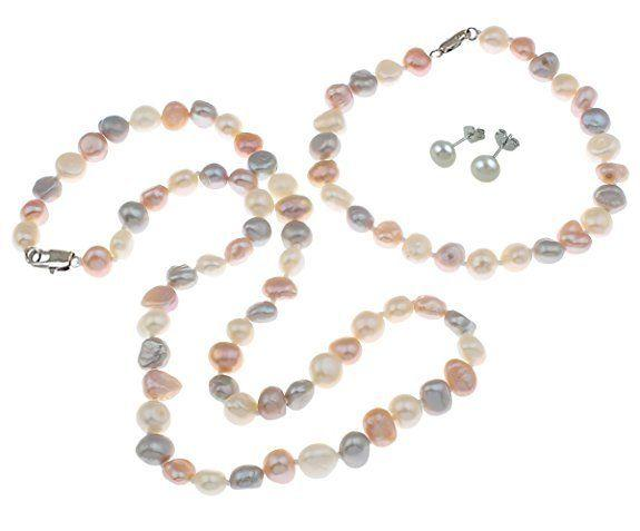 Hand made natural beautiful multicoloured 7-8mm baroque freshwater pearl necklace, bracelet and earrings jewellery set fashion jewelry