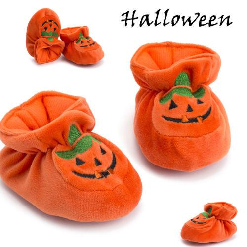 Pretty Cute Infant Toddler Baby Girl Boy Halloween Pumpkin Prewalker Flock Soft Sole Shoes Festival Lovely Shoes
