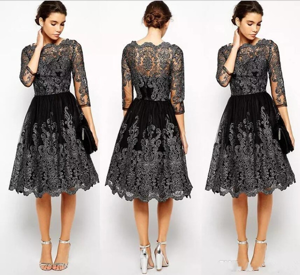 2018 New Short Mother of the Bride Dresses Jewel Neck Lace Appliques Knee Length Black Long Sleeves Wedding Guest Prom Cocktail Evening Gown