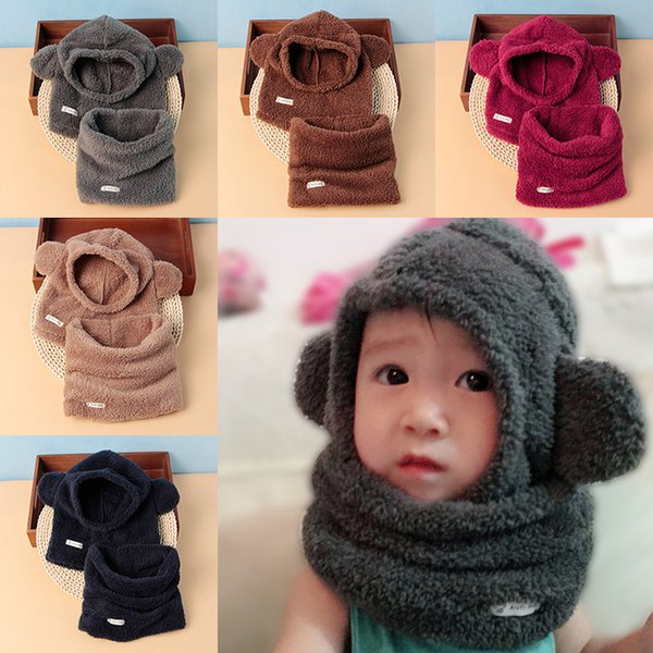 Korean version of winter solid color children's neck hat two-piece set, boys and girls baby plush thick scarf hat suit
