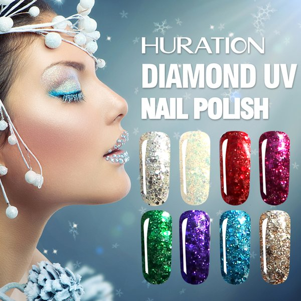 Huration 8ml Glitter 3D Diamond Gold Nail Gel Polish Soak Off UV Led Gel Varnish Lucky 20 Colour Hybrid Lacquer Nail Art