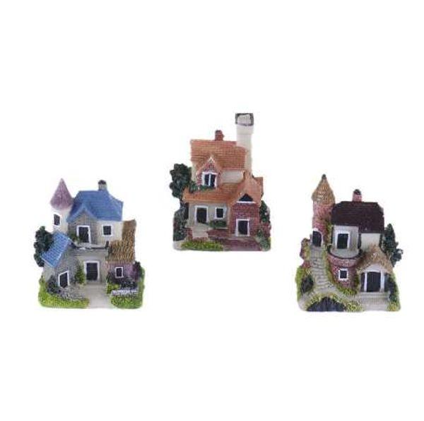 Harz Mini Miniatur Haus Micro Landschaft Ornament Garten Dekor zufällige Farbe