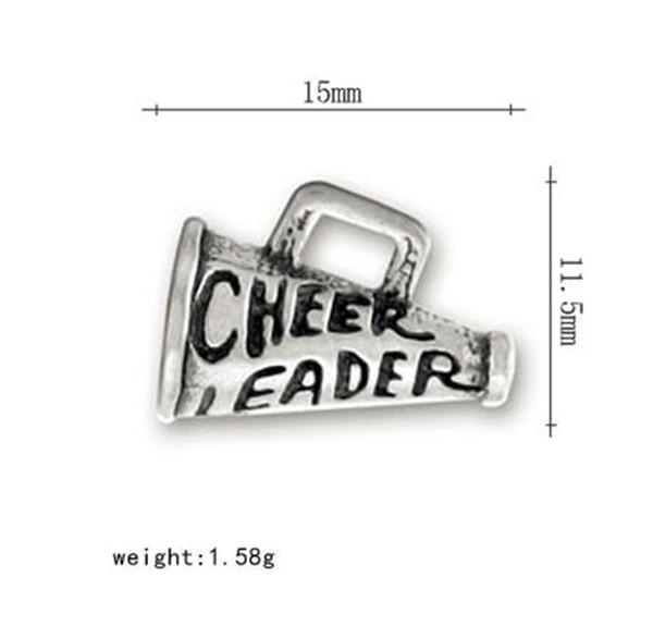 Cheerleader words on 3D microphone charm