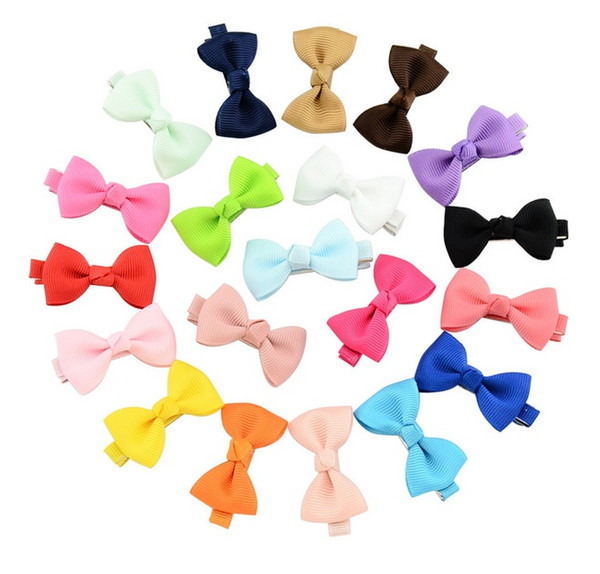 top popular 2 Inch Popular Mix color Small Grosgrain Ribbon Bows Hairgrips Children Bowknot Hair Clips Kids Hair Accessories A15 2020