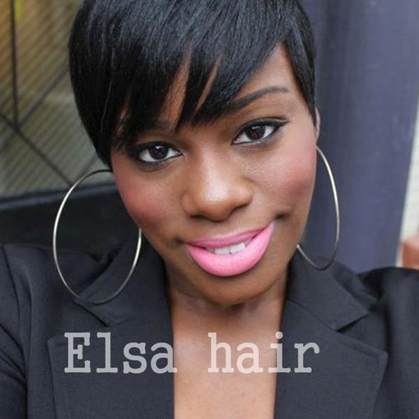 short hair wigs Half-Price Lace-cut Short bob human hair wigs with bangs 4inch Peruvian full lace wigs for black women