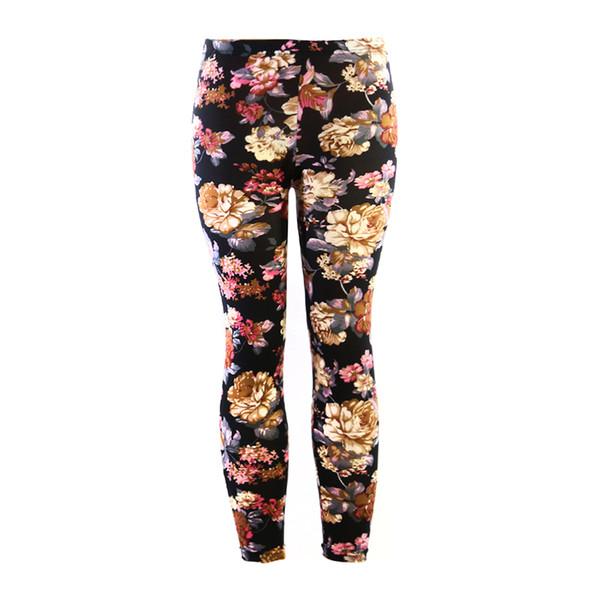 Acheter Yesello Eté Femmes Leggings Impression Fitness Leggins Taille Haute Mince Femme Pantalon Numérique Imprimé Floral Pantalon Stretch Pant De