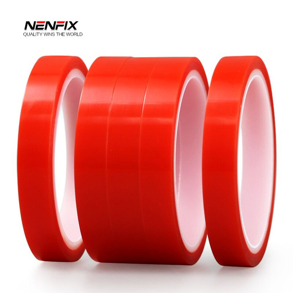 NENFIX 5pcs 3M Red Double Side Adhesive Tape High Strength Acrylic Gel Transparent Clear No Trace Glue Sticker for Car Accessory