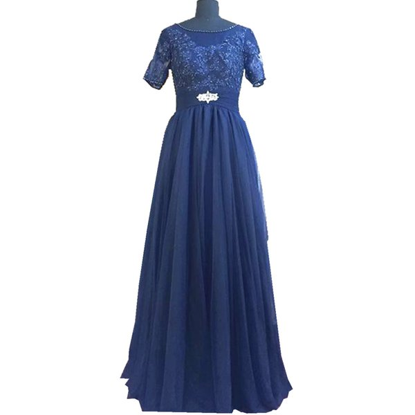 Ghands 2017 New Cheap A-Line Jewel Tulle/Lace 1/2 Sleeve Plus Size JJShouse Floor-Length Formal Gowns Evening Party Dresses Customize Color