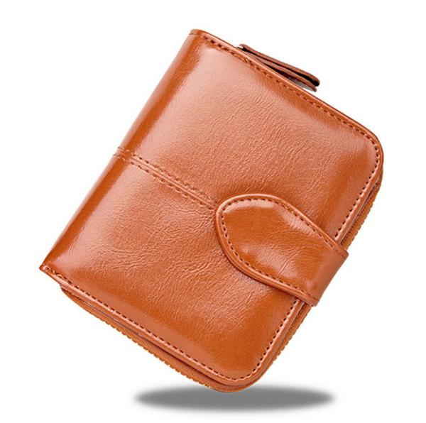 Fashion Women's Small Compact Bi-fold Leather Pocket Wallet Ladies Mini Card Case Coin Purse, Zipper Pocket Wallet