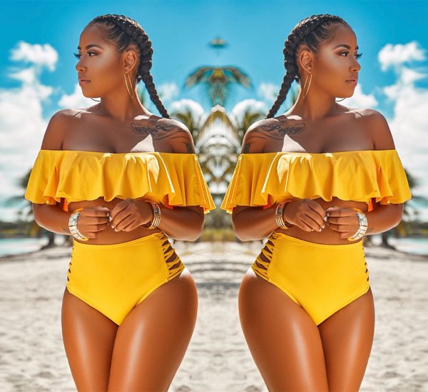 Sexy Fashion Women Swimsuit Swimwear Solid Color Off Shoulder Beachwear Push Up Bikini Set 2018 Summer