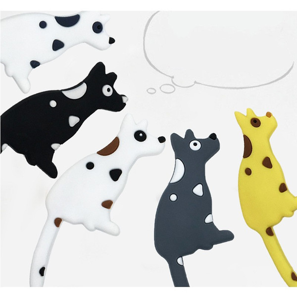 Refrigerator Magnet Creative Cartoon Lovely Fridge Dog Shape Tail Hook Small Object PVC Soft Free Shipping 4 5yka V
