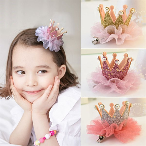 Lovely Kids Girls Newborn Lace Crown Pearl Princess Hairpin Hair Clip Headdress Party Hair Accessories for Sweet Baby Girls