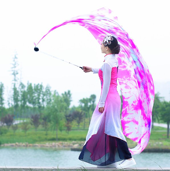 2pcs Veil+2pcs Chain Ball 2.7mx0.9m Belly Dance Silk Veil Tie Dyed Real Silk Poi Dancewear Show Performance Props Free Shipping