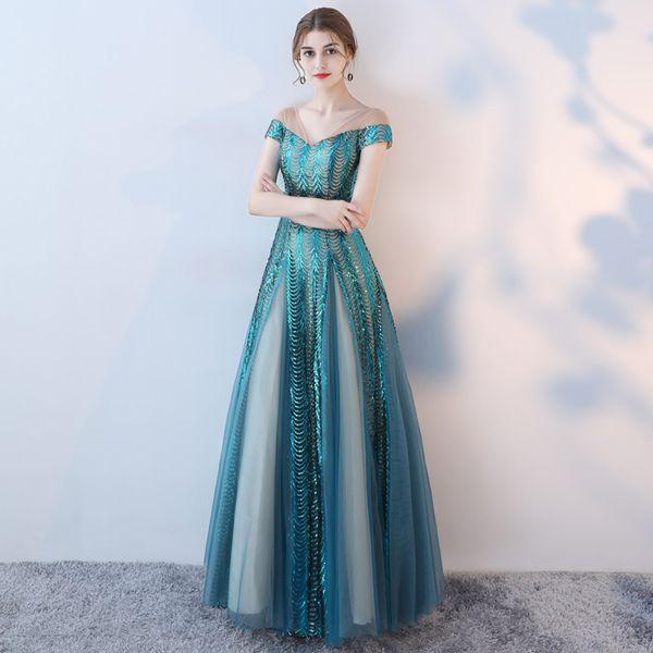 Mingli Tengda 2018 New Blue Sequins Lace Evening Dresses Sexy V Neck Prom Dresses Elegant Long Banquet Host Dress Simple A-Line Dinner Dress