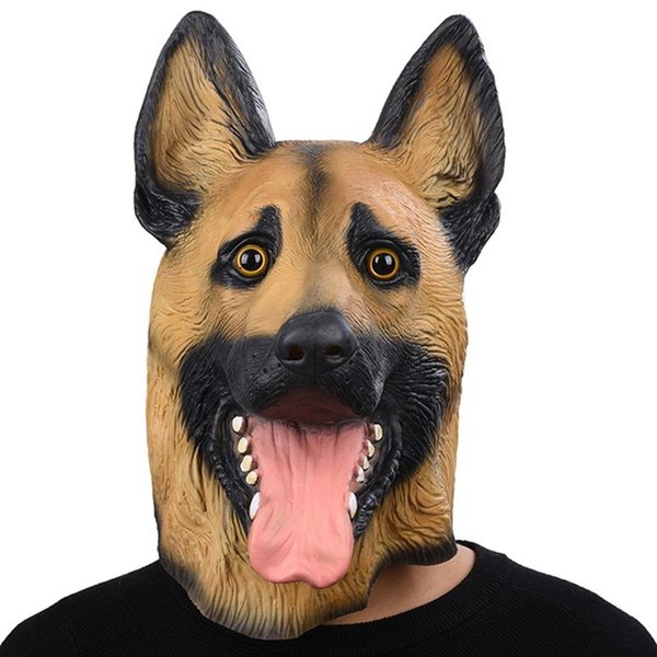 Hanzi_masks Dog mask Head Full Face Mask Halloween Masquerade Fancy Dress Party Cosplay Costume police Animal German Shepherd Latex Mask&&
