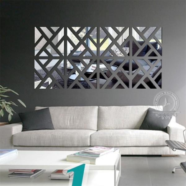 3D Mirror Wallpaper Building Blocks Jigsaw Puzzle Acrylic TV Background Ornaments Waterproof Wall Stickers Home Decor Originality 14hj bb