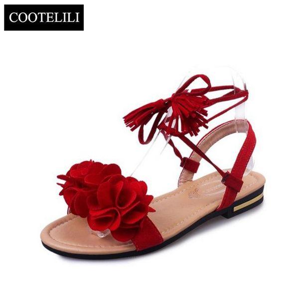 COOTELILI 35-39 Bohemian Summer Gladiator Solid Flats Open Toe Women Shoes Casual Ladies Flower Sandals Beach Sandalia Feminine