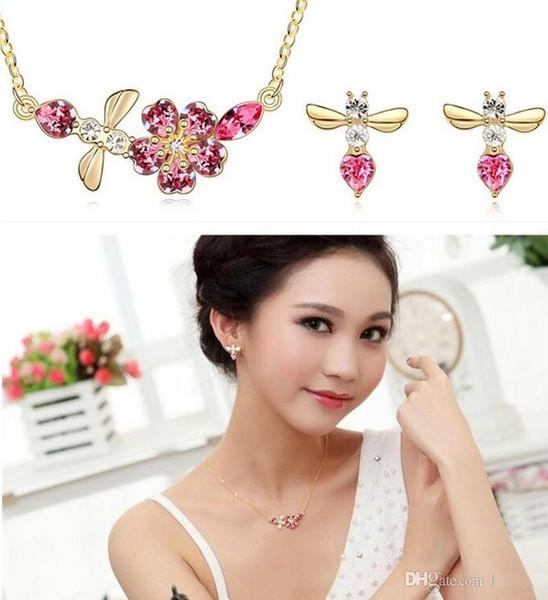 Cristal austríaco diamante 18 K colar de ouro moda pingente de colar e brincos Conjunto de Jóias de Abelha curto parágrafo cadeia clavícula a630