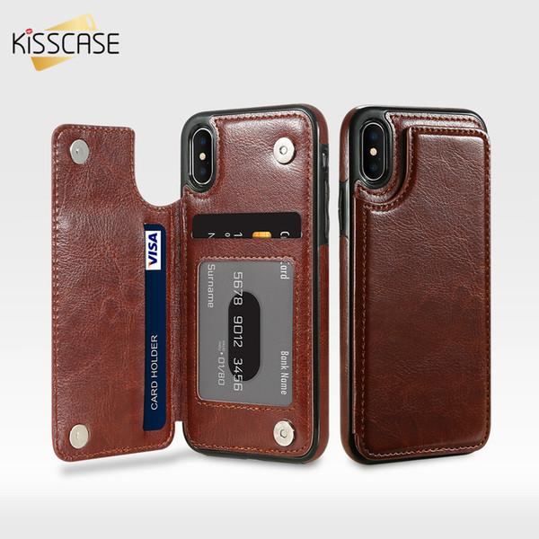 KISSCASE Retro Etui en cuir pour iPhone XS Max X 10 7 8 Plus Titulaire de la carte Etui portefeuille vertical pour iPhone 5 5s SE XS Max 6 6s