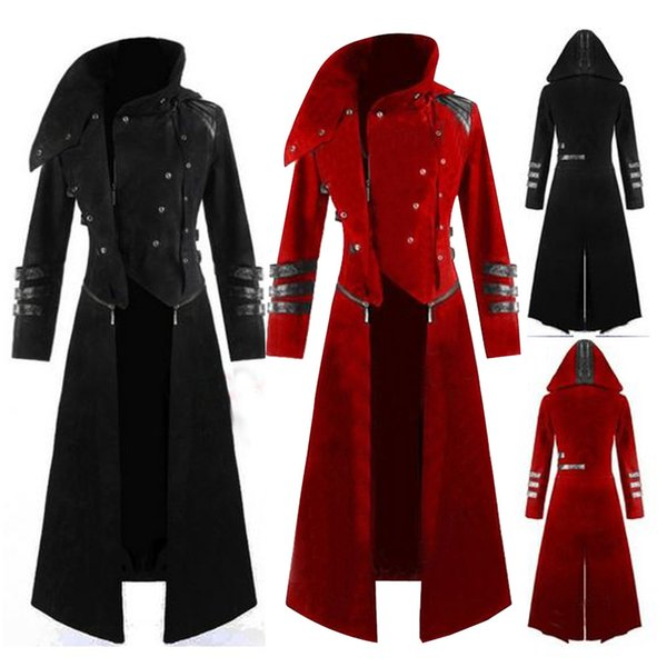 top popular New Multi Colors Mens Gothic Steampunk Hooded Trench Party Costume Tailcoat Long Sleeve Jacket Retro Coat Jacket 2021
