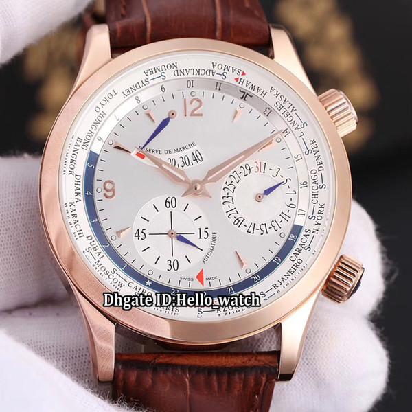 Novo Controle Mestre Q1522420 Power Reserve Cinza / Branco Relógio Automático Mens Watch Rose Gold Case Pulseira de Couro Gents Relógios de Alta Qualidade