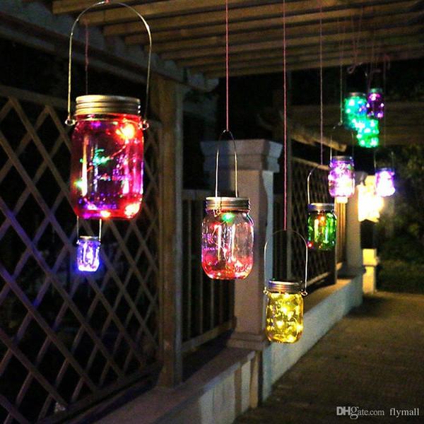 Solar Powered LED Tarros Mason Light Up Lid 10 LED String Fairy Star Tornillo en tapas de plata para Mason Glass Jars Luces de jardín de Navidad HL005
