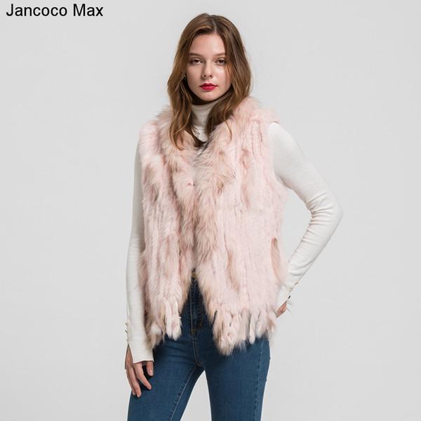 Jancoco Max 2018 New Lady Real Rabbit Real Fur Vests Raccoon Fur Collar Women Winter Fashion Gilet Waistcoat Ladies Coat S1700 S18101102