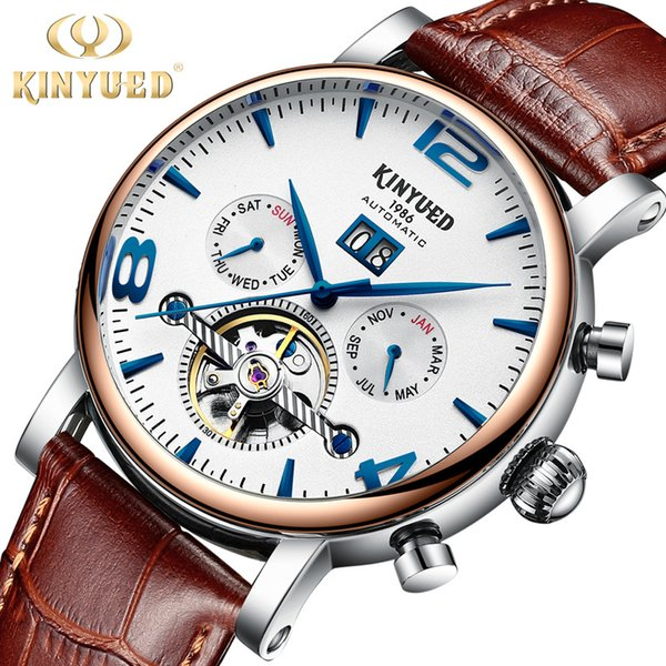 New automatic business stainless steel men's watch hollowed machine watch accurate JYD-J030