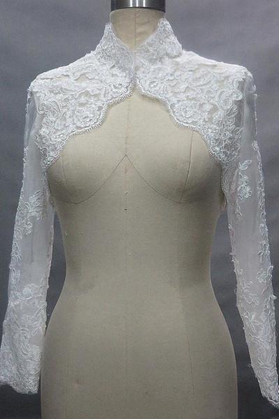 New High Neck Lace Jaqueta De Casamento Mangas Compridas Mulheres Custom made Apliques de Renda Cape nupcial Warps Solove vestido