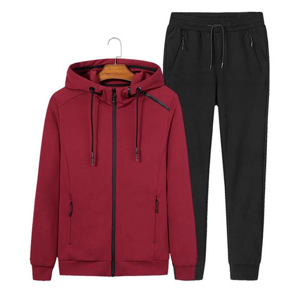 AmberHeard 2018 Moda Primavera Autunno Uomo Tuta sportiva Set Jacket + Pant Sportswear Two Piece Set Zipper Tuta con cappuccio per uomo