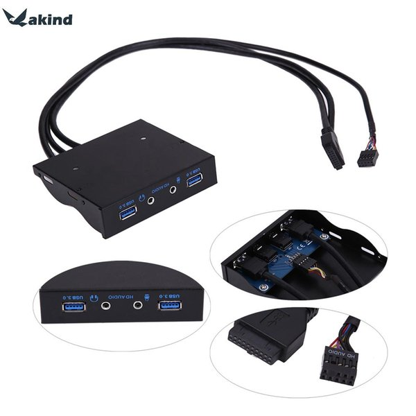"""High Quality 3.5"""" 20Pin to 2 USB 3.0 Port HUB + HD Audio PC Floppy Expansion Front Panel Rack"""