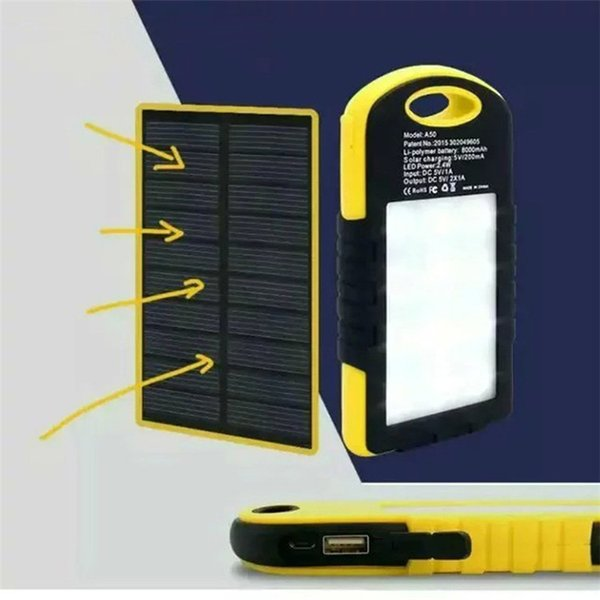 Dual USB 5000MAH Large Capacity Solar Power Bank Battery Charger Power Supply With Flashlight For Smart Phones Charging