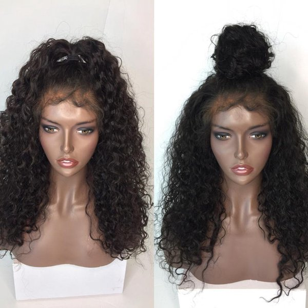 New 100% unprocessed shine lovely virgin human hair best natural color kinky curly long full lace top wig for sale