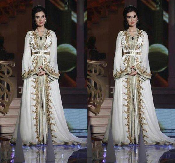 Marokkanischer Kaftan Kaftan Abend Party Wear Kleider Dubai Abaya Arabisch Langarm Amazing Gold Stickerei V-Ausschnitt Gelegenheit Prom formelle Kleider