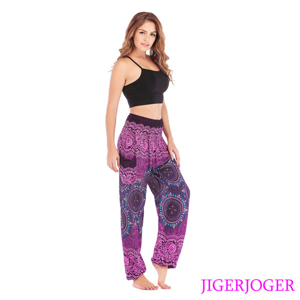 jigerjoger elastic waistband loose yoga leggings thai strappy purple rounds mandala harem pants side pocket drop shipping