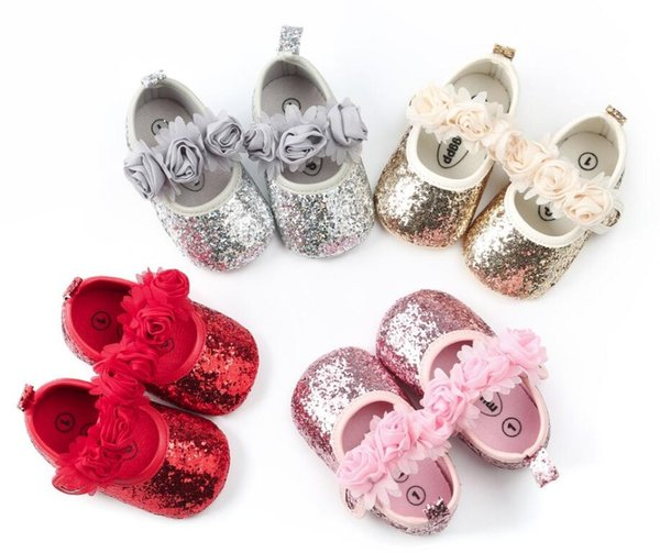 2018 New Fashion Baby Girls Newborn Babies Shoes flora bling PU Leather Prewalkers First walkers Non-slip Shoes