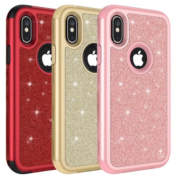 Diamond Rhinestone Cell Phone Case For iPhone 7 8 6 Plus x Plastic Silicone Hybrid Flash Powder Case for Samsung S9
