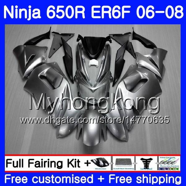 Body Glossy silvery Frame For KAWASAKI NINJA 650R ER6 F 650 ER6F 06 07 08 204HM.9 Ninja650R ER-6F 06-08 ER 6F 2006 2007 2008 Fairings kit