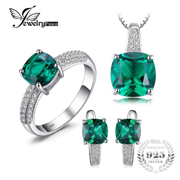 JewelryPalace 8.7ct Anillo Esmeralda Colgante Clip Pendientes Conjunto de Joyas 925 Joyería Fina de Plata 45cm Cadena de CajaY1882503