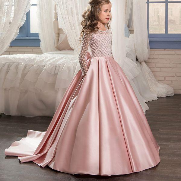 Compre Elegante Vestido De Niña De Flores De Navidad Palabra De Longitud Botón Drapeado Rosa Mangas Largas Vestidos De Bola De Tul Para Niños Glitz 0