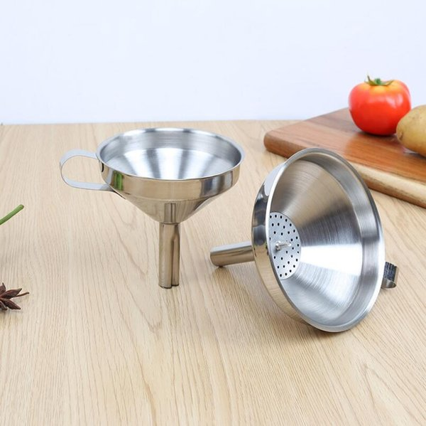 Creative Stainless Steel Kitchen Oil Honey Funnel with Detachable Strainer/Filter for Perfume Liquid Water LX2391