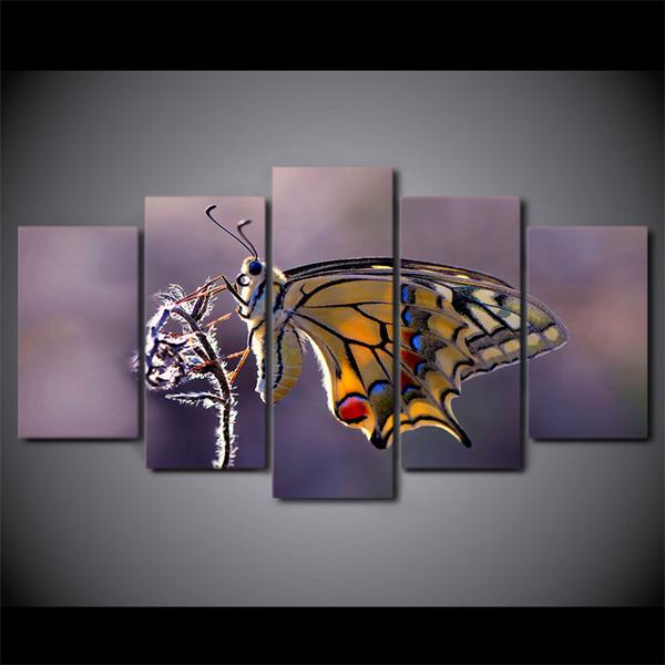 5 Pcs / Set Encadré HD Imprimé Papillon Photographie Mur Art Toile Impression Affiche Toile Photos Abstraite Peinture À L'huile