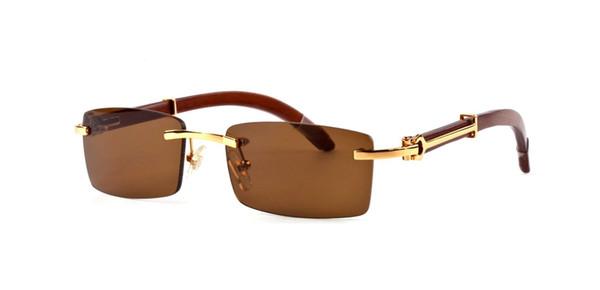 2018 luxury brand designer sunglasses for men women buffalo horn glasses rimless rectangle bamboo wood sunglasses with box case lunettes