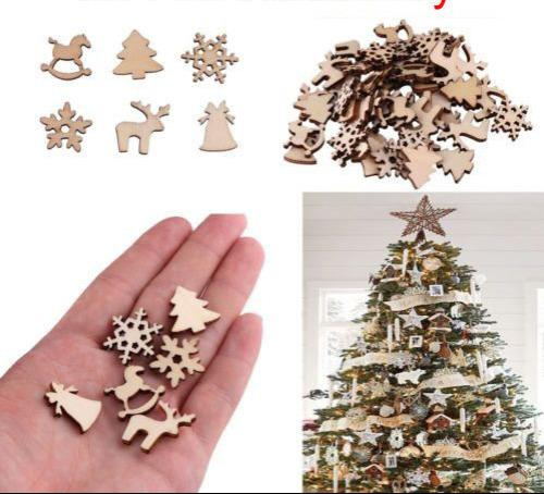 100pcs/lot Christmas Wood Chip Ornaments Christmas Gifts Blank Ornaments tag Craft Decor tree Bell Hang Gift Wood Slices FFA1138 120lots