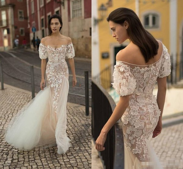Special Design 2018 Beach Wedding Dresses With Short Sleeves Lace Appliqued Tulle Mermaid Summer Boho Wedding Gowns Zipper Back